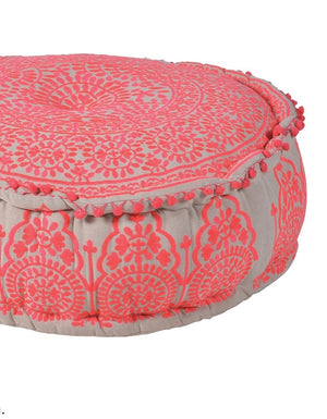 Pink Embroidered Pouf With Pompom