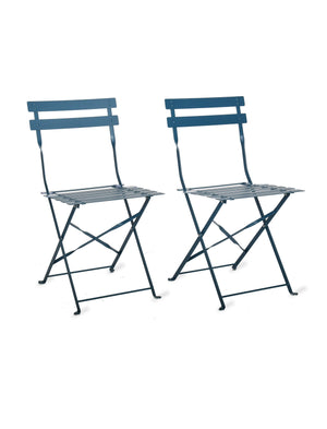 Set of Two Foldable Colourful Bistro Chairs