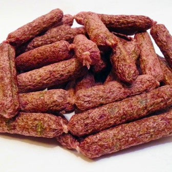 Bullwrinkles Chicken Parsley Links dog treats made with chicken, ground oats, beets, parsley, garlic