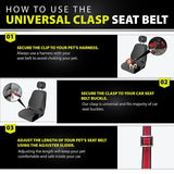 PetsLovers Durable Dog Seatbelt - Heavy Duty Strap, Reflective Lines, Adjustable Length (15-25in)