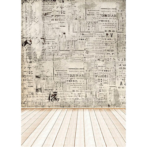 Vintage Newspaper & Wood Floor Photography Studio Backdrop