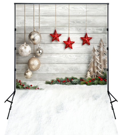 Christmas Ornaments Photography Studio Backdrop w/ Wood & Snow