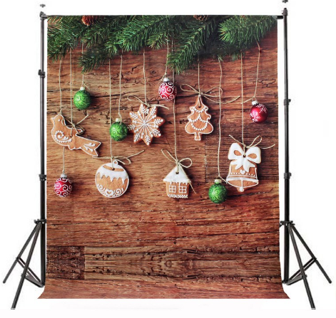 Gingerbread Cookies & Christmas Ornaments Photography Studio Backdrop with Wooden Look