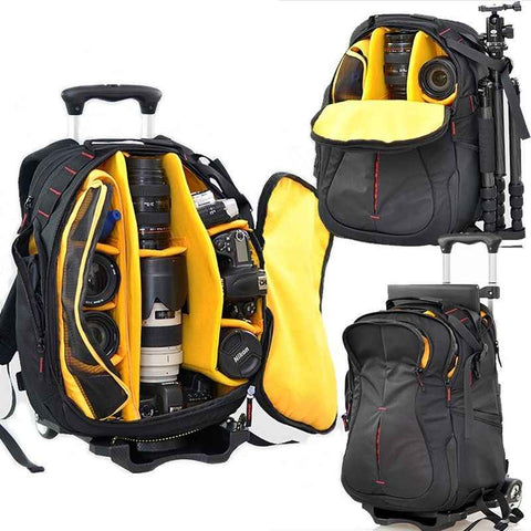 **Mega Capacity Multifunction Camera Backpack w/ Wheels for Hiking or Travel