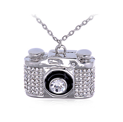 ~Rhinestone Camera Charm & Necklace