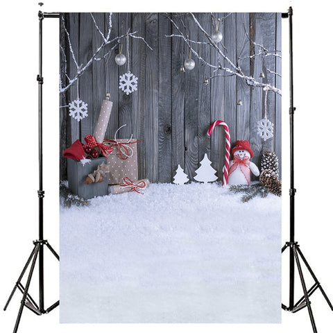 Rugged Snowman & Candy Cane Christmas Photography Studio Backdrop
