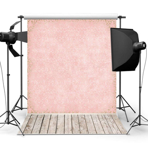 Vintage Pink & Neutral Wood Floor Photography Studio Backdrop