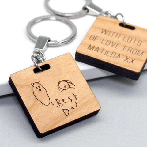 Personalised Child's Drawing Square Keyring