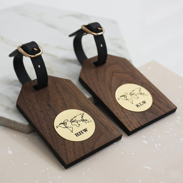 Personalised World Map And Initials Luggage Tags