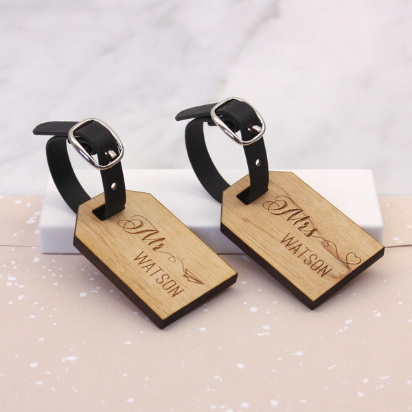 Personalised Wooden Honeymoon Mini Luggage Tags