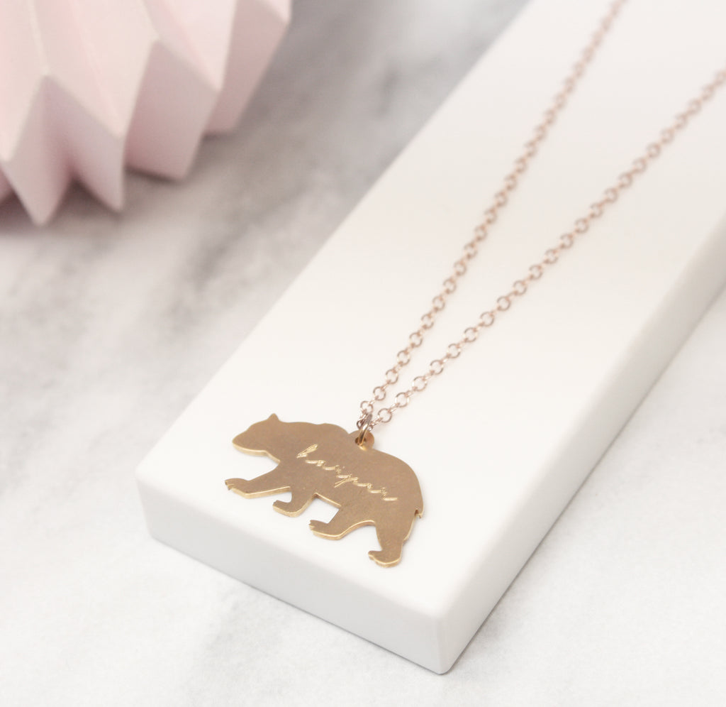 Personalised Bear Silhouette And Name Necklace