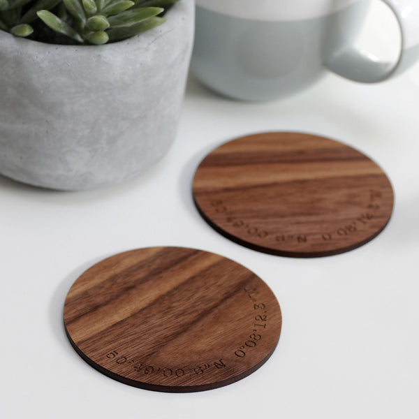 Set Of 2 Personalised Wooden Coordinate Coasters