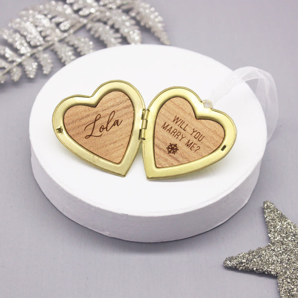 Personalised Proposal Heart Locket Decoration