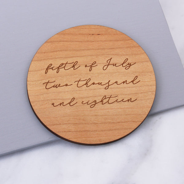 Personalised Written Date Coaster