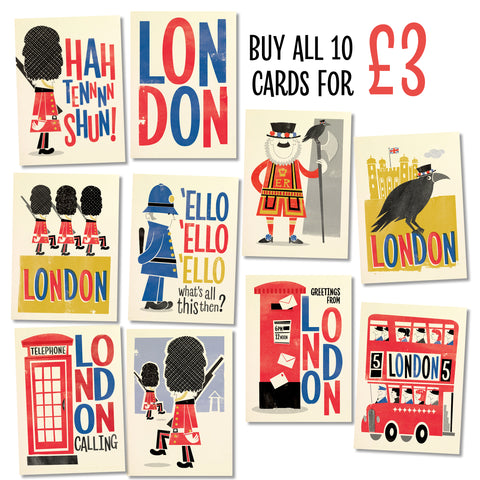 Retro London Postcard: Set of 10 Designs
