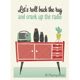 'Roll Back The Rug' Midcentury Styled Greetings Card