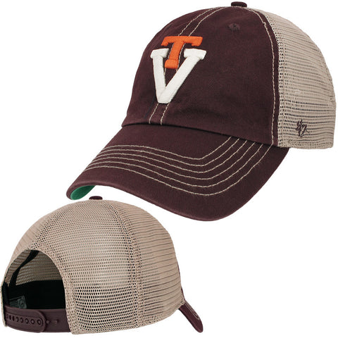 Virginia Tech Retro Logo Trucker Hat: Maroon by 47 Brand