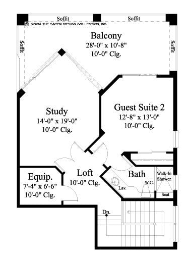 Caprice-Second Level Floor Plan-Mediterranean Home Plan