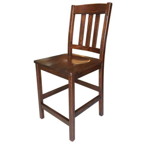 "Amish made Old Mission 24"" Barstool with Wood Seat in Solid Oak - Oak For Less® Furniture"