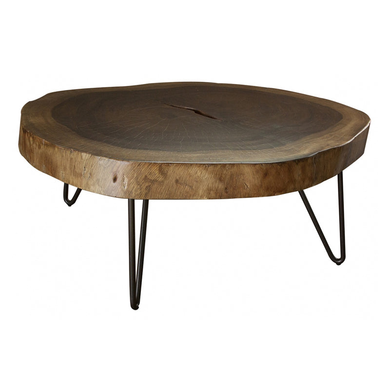 IFD-880CKTL - Solid Parota Live Edge Slab LARGE Cocktail Table - Clear Finish
