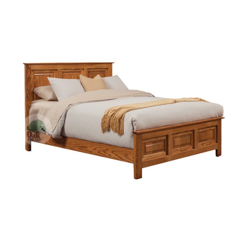 Traditional Oak Panel Bed - Queen Size