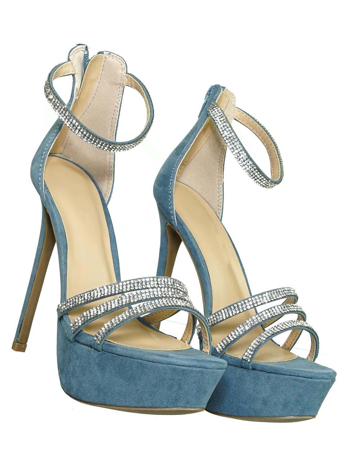 Malia01 BlueSu Rhinestone High Heel Platform Dress Sandals - Women Ankle Strap Heels