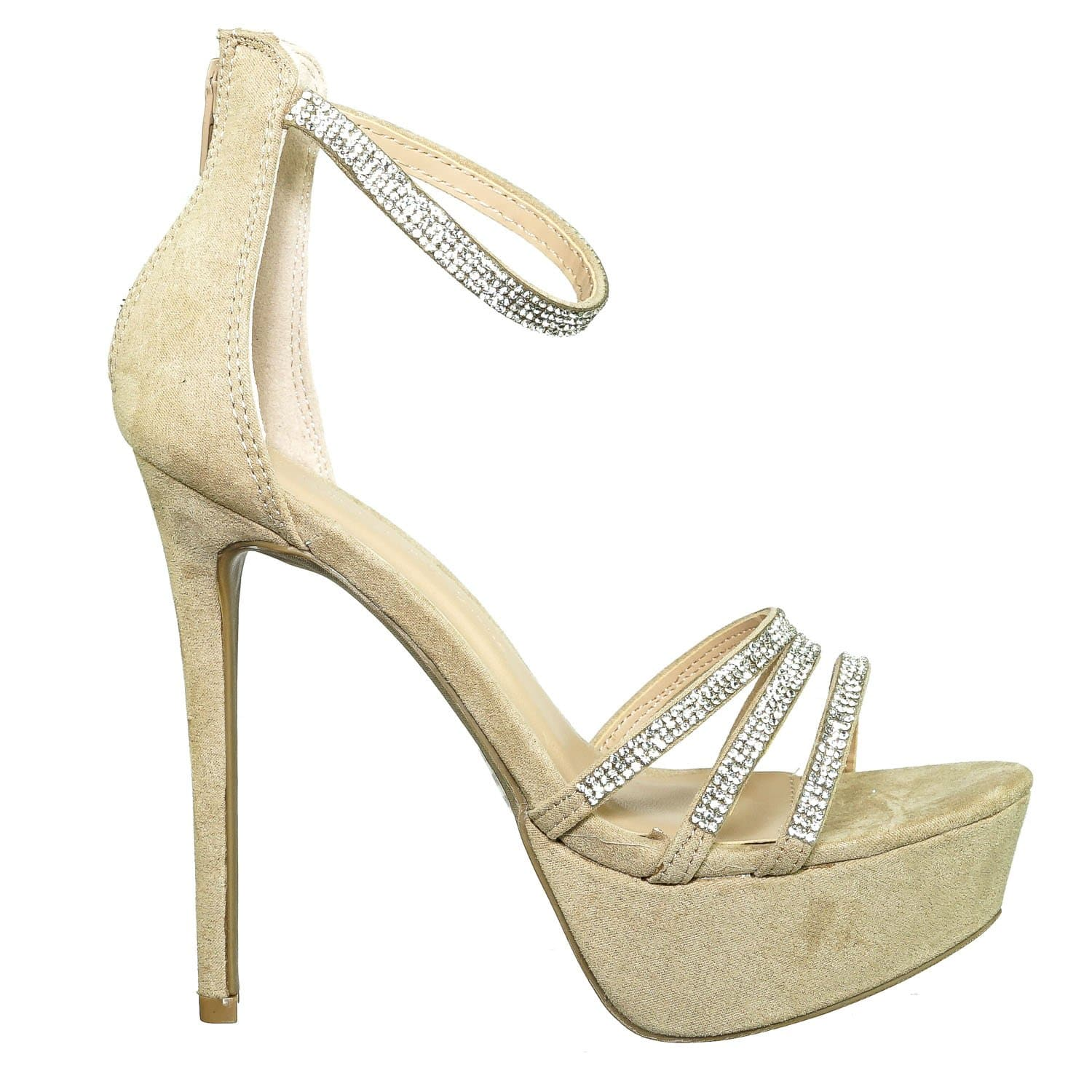 Malia01 NatSu Rhinestone High Heel Platform Dress Sandals - Women Ankle Strap Heels