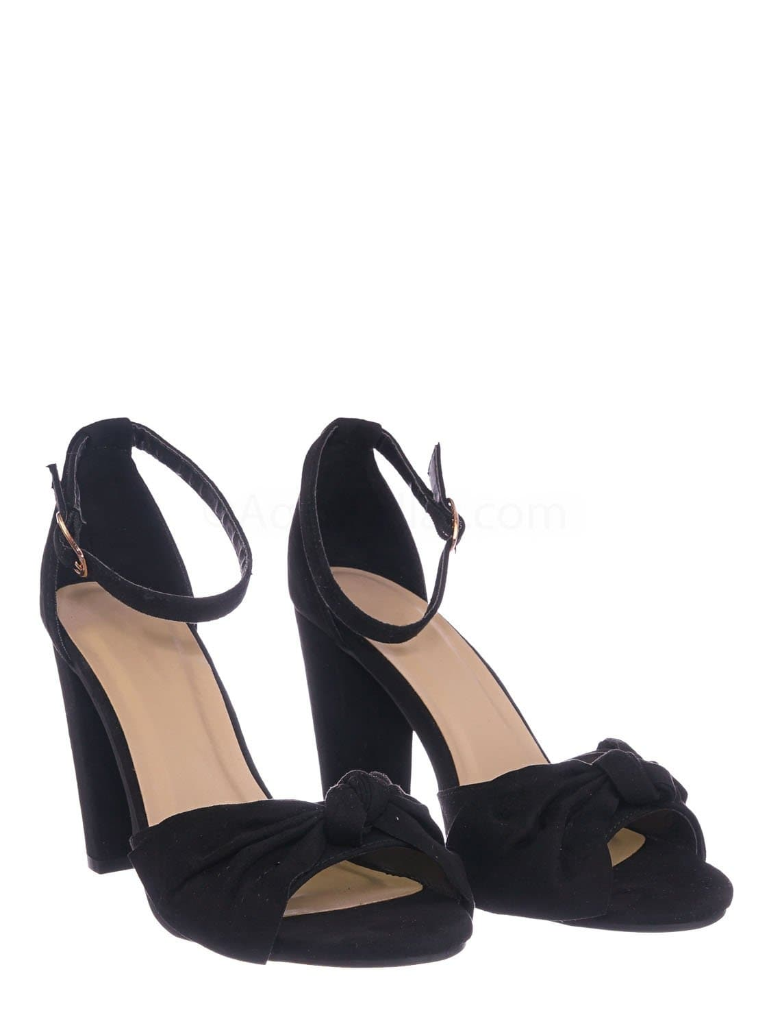 Mania18 BlkFS Chunky Block Heel Dress Sandal - Women Bow Adjustable Ankle Strap Shoes
