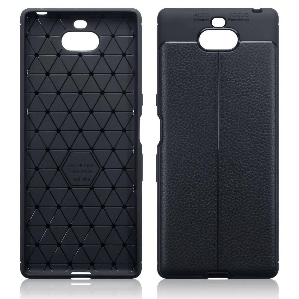 Terrapin Cases Terrapin Sony Xperia 10 Plus Leather Design TPU Gel Case - Black