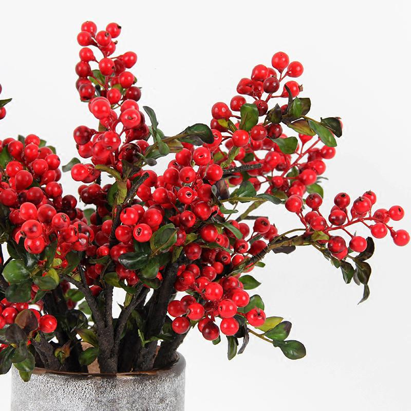 "Artificial Sugar Pear Drop Flower Stem in Black and Red 4"" Tall (Set of 5)"