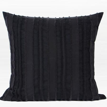 "Black Tassel Stripe Textured Pillow 20""X20"" - G Home Collection"