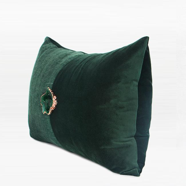 "Dark Green Crystal Centerpiece Pillow 12""X20"" - G Home Collection"