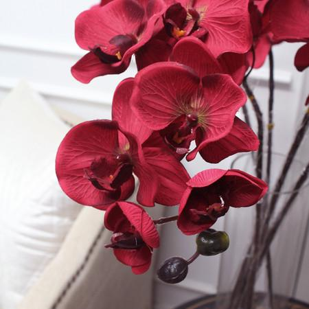 "Silk Butterfly Orchid Stem in Red 37"" Tall - G Home Collection"