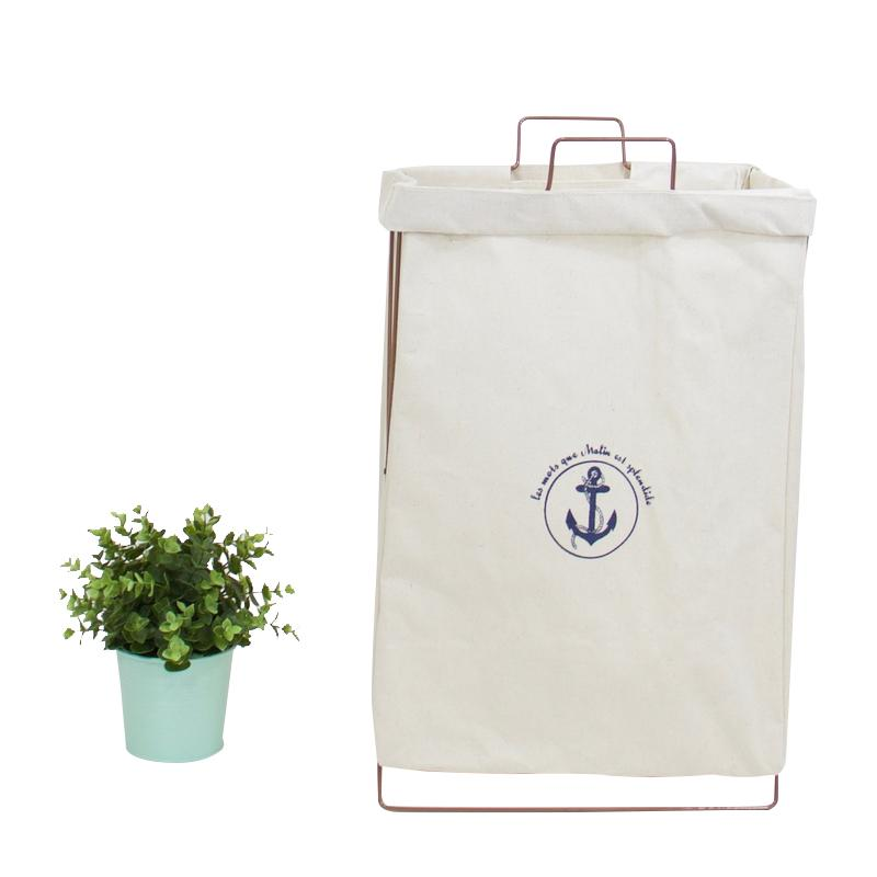 Wire Fold Laundry Hamper White Anchor Logo - G Home Collection