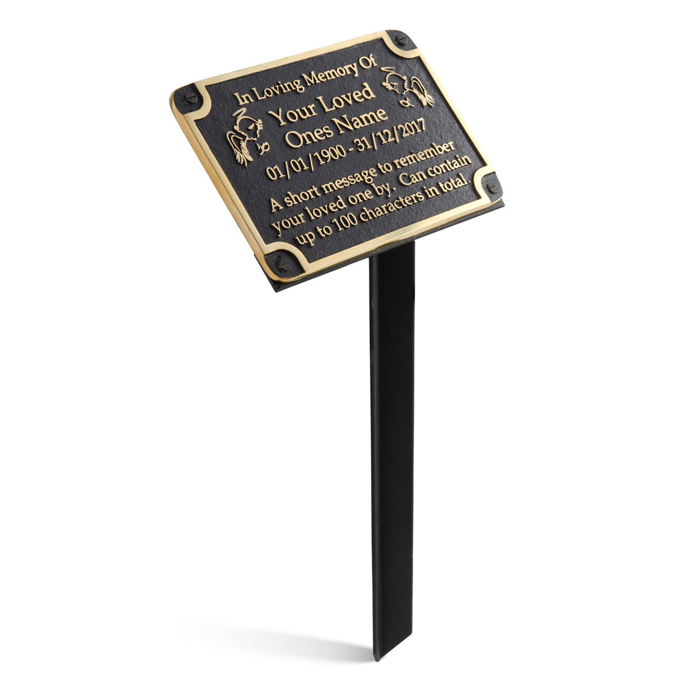 Personalised Memorial Angels Metal Plaque For Memory Of A Loved One, Mother, Father Or Grandparents. Wall Mounted Or With Garden Stake As Garden Stones Statue Gift Alternative Idea In Brass