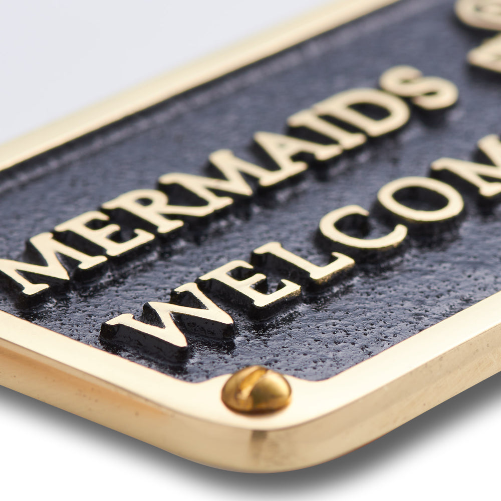 Nautical Bathroom Décor Accessories Brass Plaque. Beach Theme Funny Wall Decoration Mermaids Welcome Sign