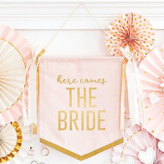 Here Comes the Bride Canvas Banner