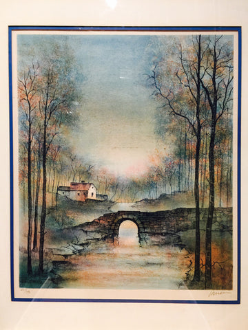 MULLER SIGNED & NUMBER BRIDGE LANDSCAPE LITHOG LIM EDIT #261/315 W/ COA Est$2K