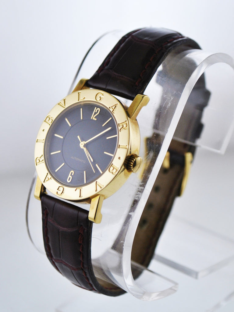 Bvlgari Bulgari Automatic Wristwatch Black Dial Round Thick Case in 18 Karat Yellow Gold - $12K VALUE