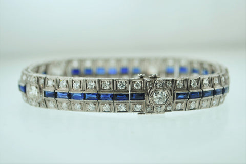 1920s Handmade Antique Platinum Bracelet with 3 Carats in Diamonds & 2.50 Carats in Sapphires - $40K VALUE