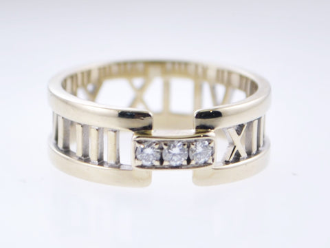 2003 Tiffany & Co. Roman Numerals Ring/Band with Diamonds in 18K White Gold - $5K VALUE