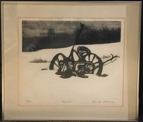 "1970's Edward McCluney ""Mower"" Etching LTD ED Framed Pencil Signed - $2K VALUE"
