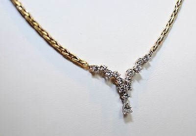 1970s Diamond V Cluster Necklace in 18K Yellow Gold - $12K VALUE