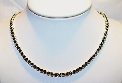 1960s Vintage 1.60 Carat Garnet Bezel Necklace in Solid 14K Yellow Gold - $15K VALUE