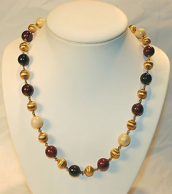 1960s Vintage 18K Yellow Gold & Guilloche Enamel Bead Necklace - $10K VALUE