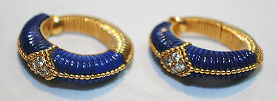 1950s Vintage Van Cleef & Arpels Carved Lapis Lazuli & Diamond Clip-On Hoop Earrings - $60K VALUE