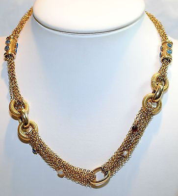 1960s Vintage Multi Colored Chalcedony & Opal Chain Necklace in 14K Yellow Gold - $20K VALUE