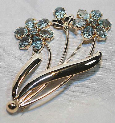 1950s Tiffany & Co. Vintage 20+ Carat Aquamarine Flower Brooch in 14K Yellow Gold - $25K VALUE