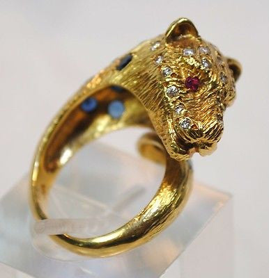 1960s Vintage Sapphire, Diamond, & Ruby Panther Ring in 18K Yellow Gold - $10K VALUE