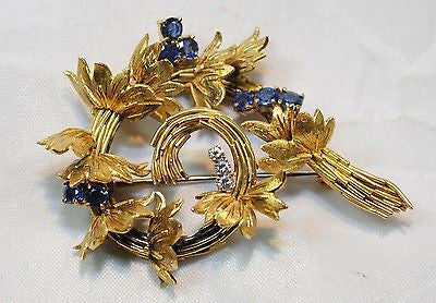 1950s Vintage Designer Sapphire & Diamond Floral Swirl Brooch in 18K Yellow Gold - $10K VALUE